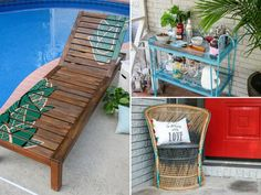 If you're decorating an outdoor space on a budget, you don't have to spend a fortune on brand-new furniture. See how we revived three thrifted pieces with a little elbow grease and creativity.