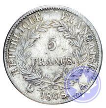 5 francs  1808a Napoleon Empereur conservation: tb-ttb