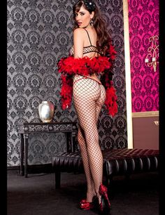 Net Red Bodystocking - Music Legs Lingerie by Music Legs at Wicked Temptations