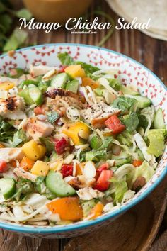 This is our all time favorite mango chicken salad and it's so good as a wrap too!