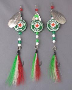 Heineken Beer cap fishing lures Set of three spinners with