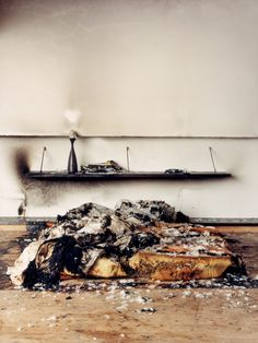 Marijke Aerden Photography - #bed #white #wall #shelf #lamp #linnen #stilllife #fire #burnt
