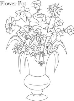 Flower Pot Coloring Printable Page For Kids 14