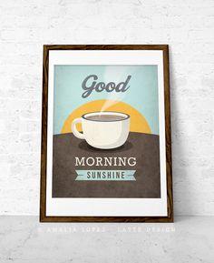 Café impression « rayon de soleil de bon matin » aime café impression affiche café cuisine art aime affiche murale art décor rétro impressio...