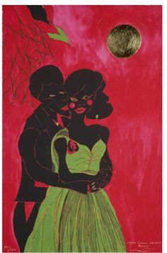 Afro Lunar Lovers by Chris Ofili, Great Britain, 2003. l Victoria and Albert Museum #VDay #Love