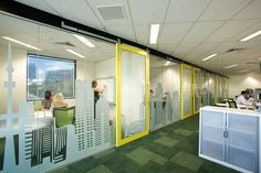 Cool graphics, love the yellow door frames - Evans & Peck by Smith Madden