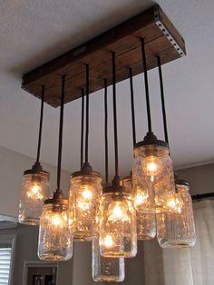 Mason Jar lighting, perfect for over the breakfast bar