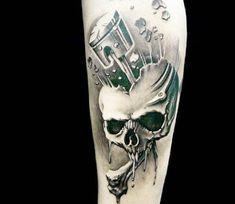 Skull with Piston tattoo by Demon Tattoo   Post 4432