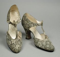 1920s, France - Pair of Woman's T-Strap Sandals by E. J. Costa and Sons - Silk brocade, leather