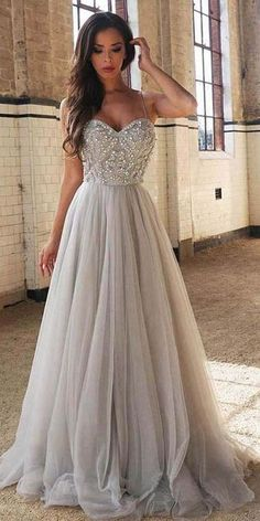 A Line Prom Dresses with Straps
