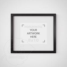 8x10 frame mockup Matted black frame Digital product by CGmockup