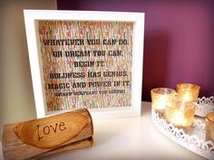 'Whatever you can do, or dream you can, begin it.  Boldness has genius, magic and power in it.' - Johann Wolfgang von Goethe Quote Handmade paper cut Framed Quotation – by MyMumAndMeQuotes on Etsy