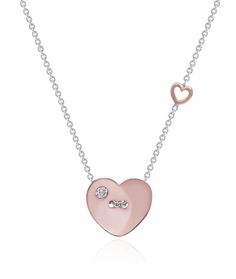 Chain my heart by Stenzhorn. Heart shape shirt button pendant in rose\white gold and white diamond