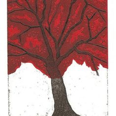 Tree in autumn, collagraph print with chine colle