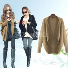 Lady's Women's Batwing Cape Poncho Knit Top Cardigan Sweater Coat