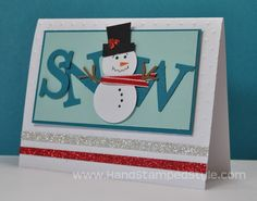 Frosty is an adorable focal point for this card, punch art is the most fun style of card, it's like sculpture with paper!! See all the different things Erin with Hand Stamped Style has done with punches, http://www.handstampedstyle.com it's easy anyone can learn how!