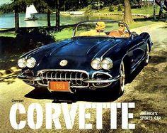 1959 Chevrolet Corvette - America's Sports Car - Promotional Advertising Poster Chevrolet Corvette, Chevy, 1962 Corvette, Corvette America, Volkswagen New Beetle, American Muscle Cars, Advertising Poster, Car Insurance, Ford Trucks