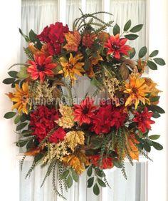 FALL Silk Flower Wreath Hydrangeas Mums Lush Door Wreath
