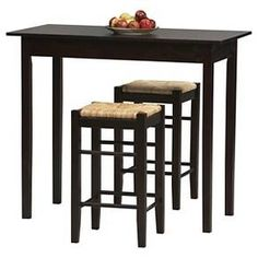 3 Piece Counter-Height Table Set Wood/Brown - Linon Home Décor : Target