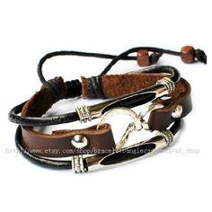 Bangle leather bracelet men bracelet punk by braceletbanglecase, $8.00