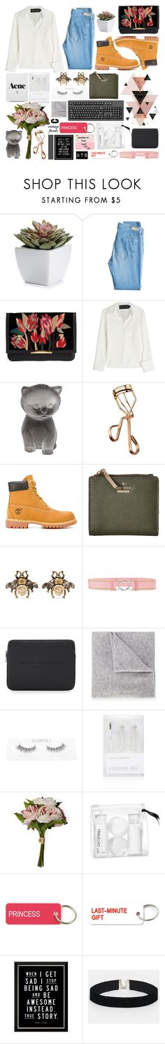 """Dimple - BTS"" by princess-malik-styles ❤ liked on Polyvore featuring AG Adriano Goldschmied, Lizzie Fortunato, Brandon Maxwell, Daum, Tweezerman, Timberland, Kate Spade, Gucci, Prada and Marc Jacobs"