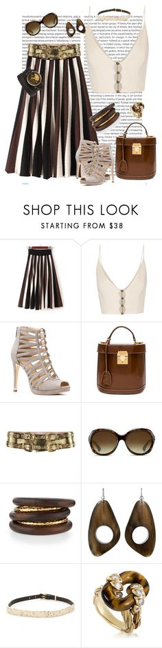 """Lucky girl"" by roula-gedeon ❤ liked on Polyvore featuring Oris, WithChic, Zimmermann, MICHAEL Michael Kors, Mark Cross, Alexander McQueen, Ray-Ban, NEST Jewelry, Alexis Bittar and Van Cleef & Arpels"