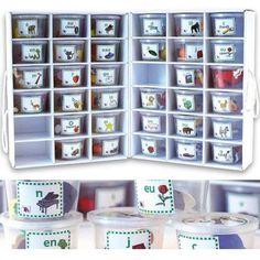 Dans chacun des 33 pots se trouvent 5 objets ou figurines ayant en commun un son. Cet outil, développé par un orthophoniste, permet d'appréhender par une manipulation ludique les sons, leur prononciation et les différentes orthographes de ceux-ci. Contient 160 petits objets et 1 valise de rangement en carton dim. 30 x 40 cm. Dès 3 ans.