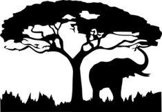 Elephant and safari tree silhouette Stencil Templates, Stencil Patterns, Stencil Art, Stenciling, Silhouette Projects, Silhouette Design, Silhouette Cameo, Landscape Silhouette, Elephant Silhouette