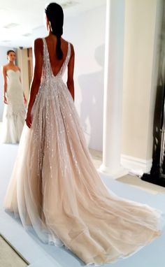 stunning low back sparkling gown