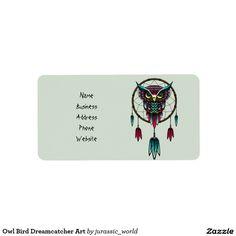 Owl Bird Dreamcatcher Art Label