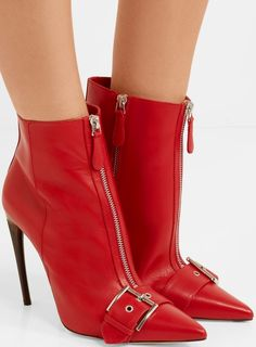 Alexander McQueen buckled ankle boots in red leather