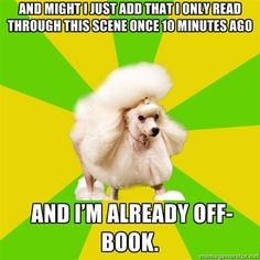 Pretentious Theatre Kid Poodle  Did you just quote someone i know? ;D haha im so mean..