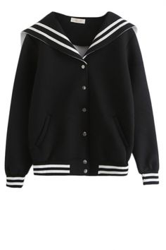 Sailor Style Stripe Trim Jacket with Snap Buttons