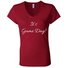 It's Game Day With White Letters - Bella + Canvas Ladies Jersey V-Neck T-Shirt