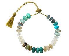 Turquoise, Rainbow Moonstone and Blue Topaz Bracelet Smoky Quartz Necklace, Rainbow Moonstone, Blue Topaz, Tassel Necklace, Turquoise Bracelet, Jewelry Design, Bracelets, Friendship, Casual
