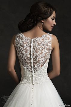 amelia sposa 2015 bridal elza sleeveless ball gown wedding dress illusion neckline back view close up