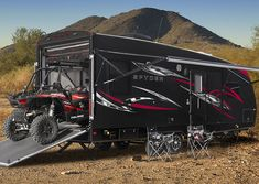 """WINNEBAGO Spider: Toy haulers or """"sport-utility trailers"""" can come in any travel trailer type - Beginner's Guide to RV Trailers - Consumer Reports Pop Up Trailer, Car Trailer, Utility Trailer, Camper Trailers, Toy Hauler Camper, Toy Hauler Travel Trailer, Toy Hauler Trailers, Truck Tent, Fifth Wheel Trailers"""