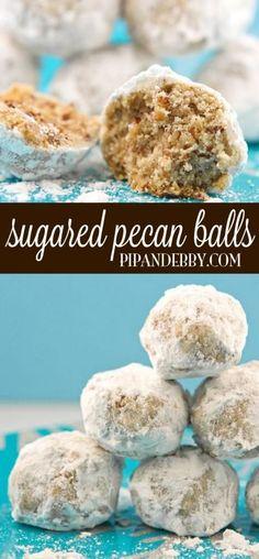 25 Christmas cookies...sugared pecan balls