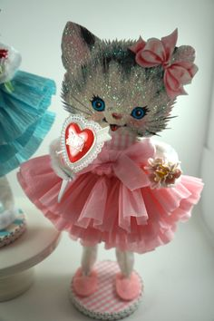 Retro Pink Kitty Valentine by SparkleLovesWhimsey on Etsy, $20.00 ~ Love the SHOES!