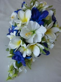 blue orchid white hibiscus bouquet - i like EVERYTHING about this