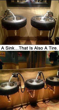 A pia ... que também é um pneu.