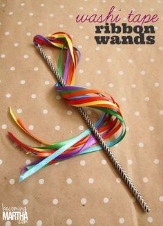 Washi Tape Ribbon Wands from becoming Martha #kids #wand