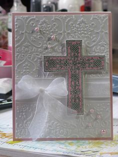 beautiful first communion  card or christening for a sweet girl