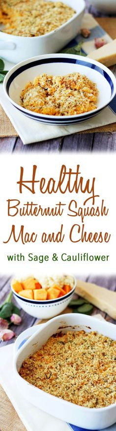 This Healthy Butternut Squash Mac and Cheese has low calorie cauliflower- it's a perfect Vegetarian Casserole for Thanksgiving, Christmas or other Holidays. Easy Appetizer Recipes, Healthy Dessert Recipes, Diet Recipes, Cooking Recipes, Cheese Recipes, Desserts, Vegetarian Casserole, Vegetarian Cooking, Entrees