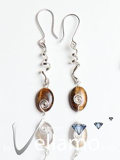 Earrings with beautiful tigers eye gemstones and sterling silver spirals, modern, $21.00