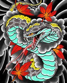 Japanese Wave Tattoos, Japanese Snake Tattoo, Japanese Tattoo Designs, Japanese Sleeve Tattoos, Foo Dog Tattoo, Tattoo Drawings, Body Art Tattoos, Dragon Tattoo Sketch, Japan Tattoo Design