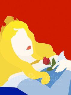 Sleeping Beauty 8x10 Minimalist Poster by TintsShadesFineArt, $7.50