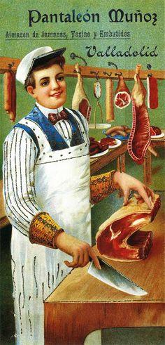 Pantaleon #hombres #carne                                                                                                                                                                                 Más Vintage Food Posters, Vintage Advertising Posters, Old Advertisements, Pub Vintage, Italian Posters, Old Commercials, Retro Poster, Vintage Branding, Old Ads