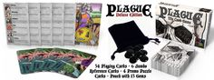 Plague the Card Game - Deluxe  Venture forth and do battle with your foes while trying not to contract the plague at the same time in this fast-paced trick taking card game. PLAGUE combines elements from classic trick taking games like Spades and Black Maria and infuses rock-paper-scissors and a unique victory point scoring system that will have you both stratching your head and licking your lips.