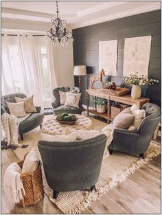 Living Room Furniture, Living Room Decor, Dining Room, Chairs For Living Room, 4 Chair Living Room Arrangement, Front Room Furniture Ideas, Cottage Style Living Room, Furniture Design, Living Room Seating